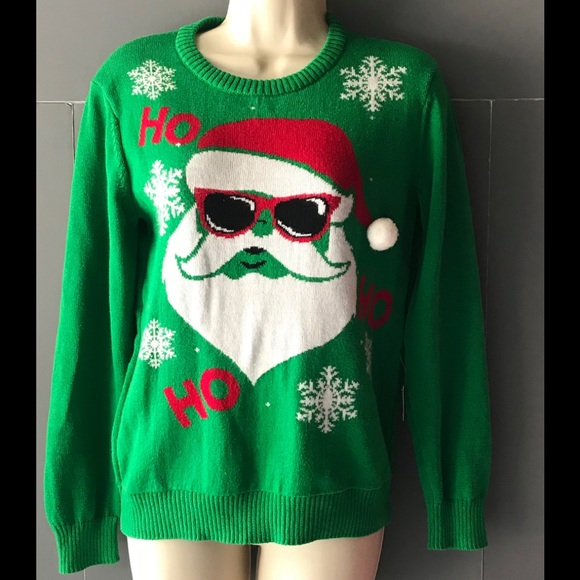 Well Worn Other - Christmas Sweater Santa Claus Medium Crewneck